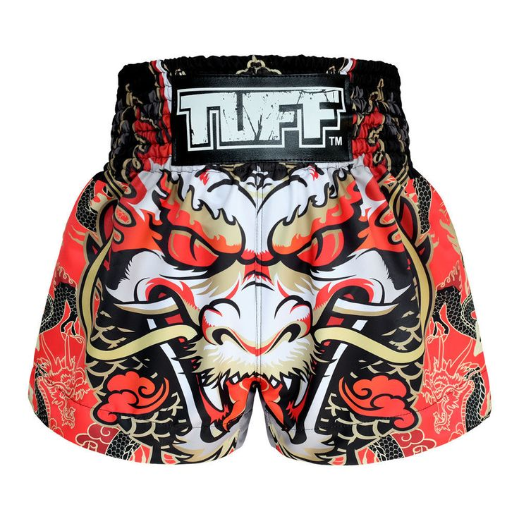 Red Dragon Vintage Boxing Shorts  MMA Grappling Shorts Gym Clothing Muay Thai  #TuffSport
