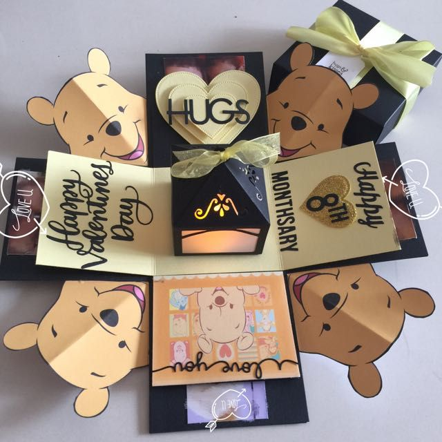 Pooh Bear Valentine Explosion Box With 4 Personalized Photos In Black & Yellow