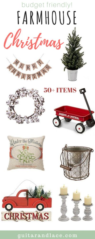 Here are my budget friendly Farmhouse Christmas decor picks!