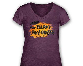 Saluto di Halloween vintage womens v-neck t-shirt