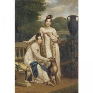 Henri François Riesener - Portrait Of The Misses De Balleroy In A Landscape With A Dog