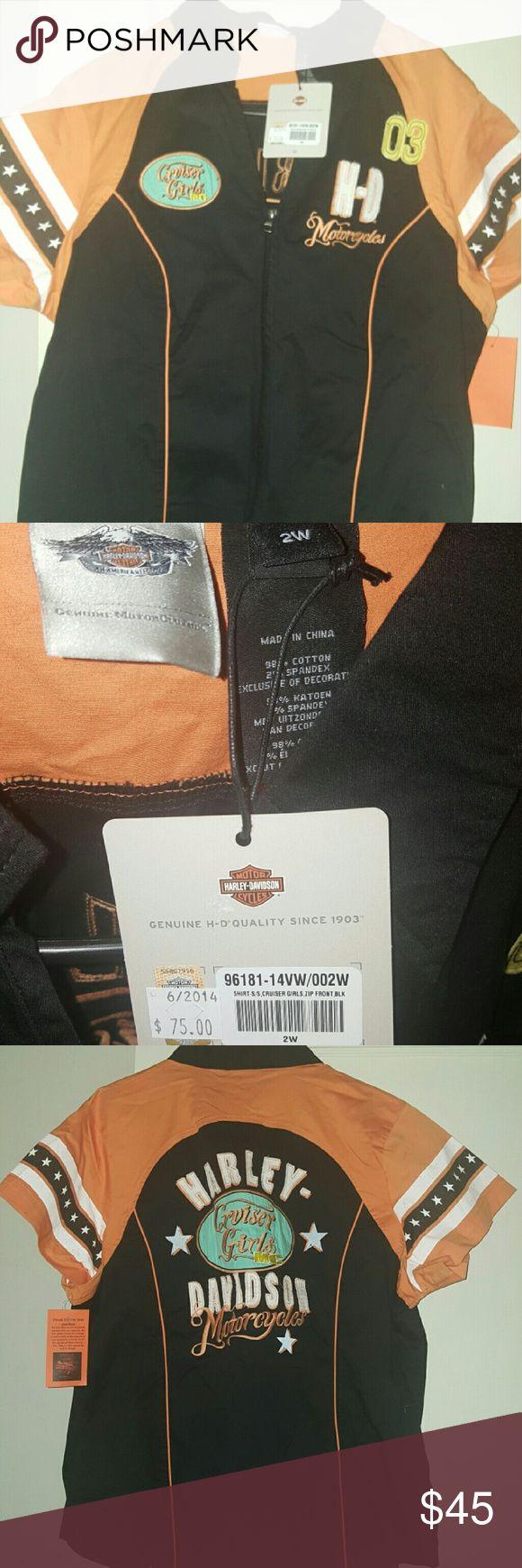 Harley-Davidson brand new zip up shirt Plus size, brand new with tags, Harley-Davidson zip up riding shirt! Size 2w (Harley's 2x women) Harley-Davidson Tops