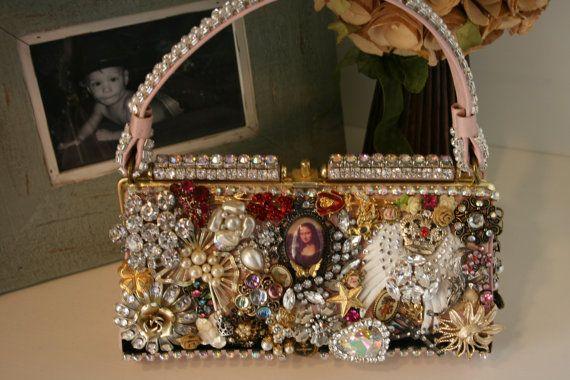 ORIGINAL vintage brooch & vintage rhinestone jewelry embellished 1940's pale pink handbag OOAK. $600.00, via Etsy.