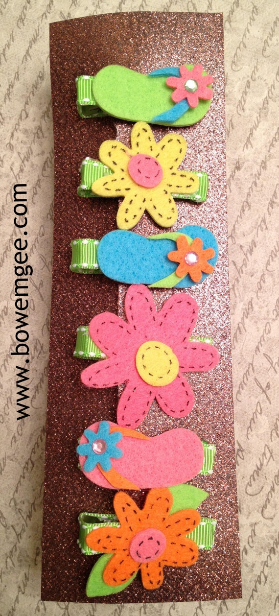 $8.00 Set of 6 Summer Clippies. #summer #hairclip #hair #flowerclip #handmade…