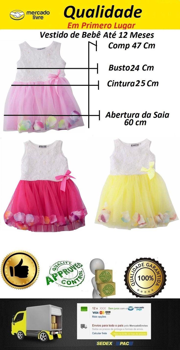 Vestido de bebe menina roupinhas de bebês no Mercado Livre
