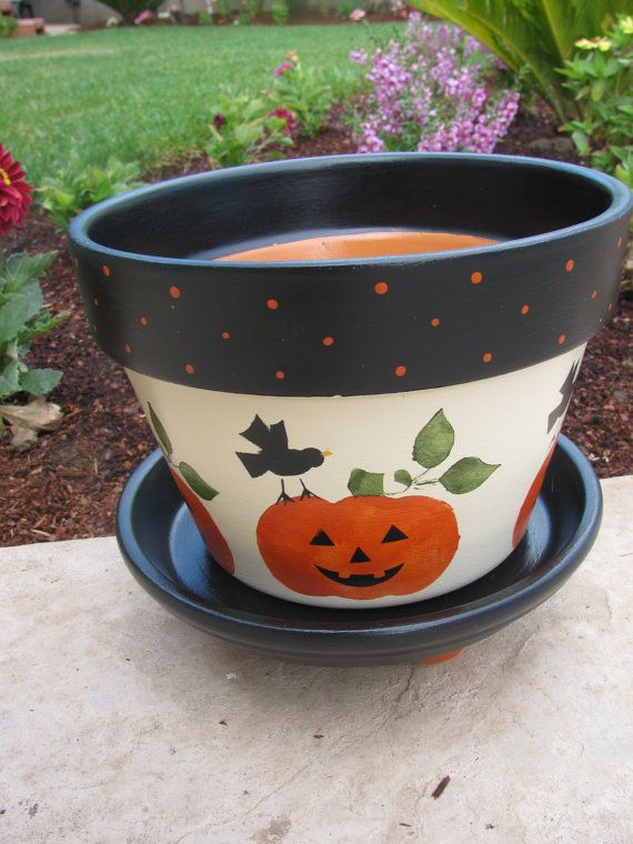 Halloween Pumpkin Flower Pot by bubee on Etsy, $20.00