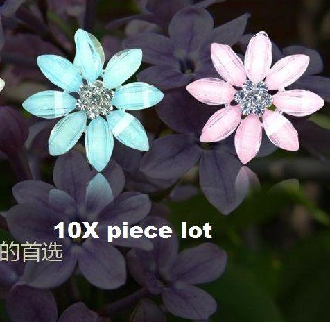 10 piece lot 8 crystal petal  flower alloy diy bling phone deco etc | chriszcoolstuff - Craft Supplies on ArtFire