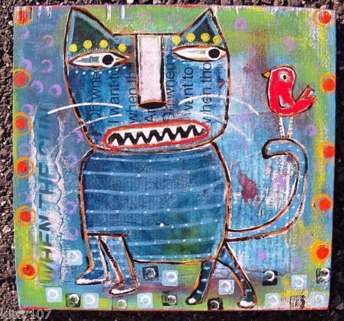 Tracey Ann Finley Original Raw Brut Folk Outsider Collage Painting Cat & Bird