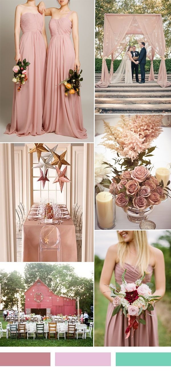pink sorbet wedding color ideas and one shoulder bridesmaid dress