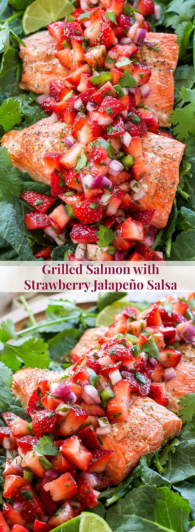 Grilled Salmon with Strawberry Jalapeno Salsa   Hearty grilled salmon paired with a fresh and slightly spicy strawberry jalapeno salsa is perfect for an easy and healthy dinner!
