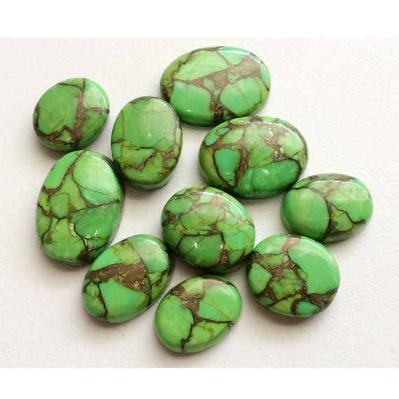 Green Copper Turquoise Natural Cabochon Green by gemsforjewels