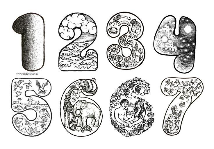 www.bijbelidee.nl   kleurplaat   7 cijfers van de scheppingsdagen