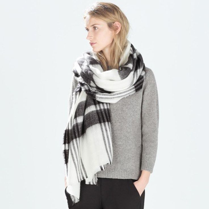 Brand Women's Scarf black and white striped  Winter warm scarf soft acrylic thick scarves free shipping