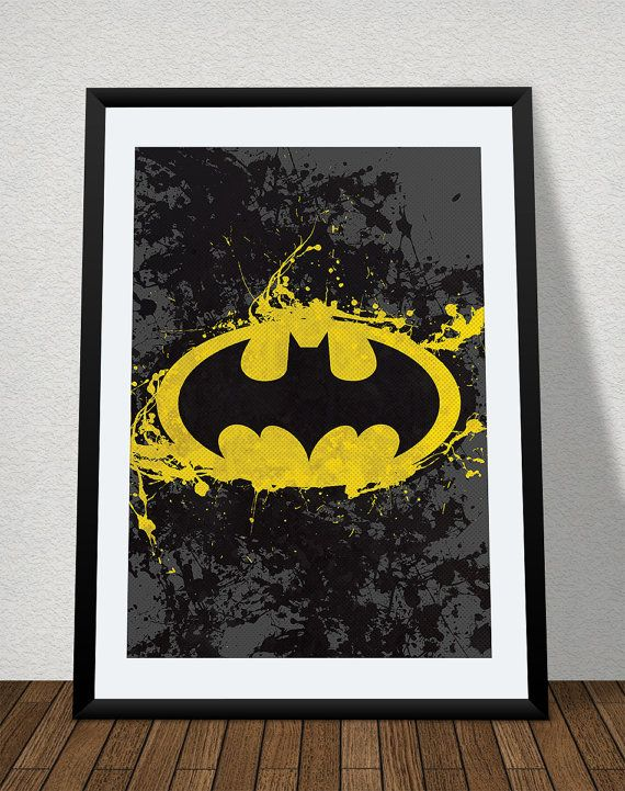 batman splatter poster print superhero kids by thecuttingedgeshop super hero bedroom. Black Bedroom Furniture Sets. Home Design Ideas