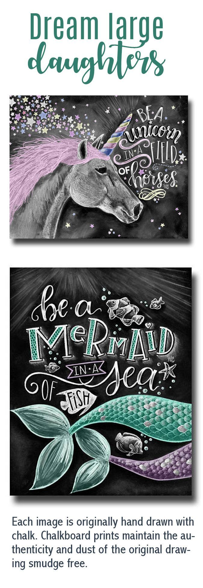 Adorable, encouraging chalkboard art, perfect for my daughter or granddaughter's rooms. These are printed All prints are printed on Deep Matte Fujicolor Crystal Archive Professional Paper. Gorgeous. #chalkboard #chalkart #unicorn #mermaid #wallart #girlsroom #nursery #ad