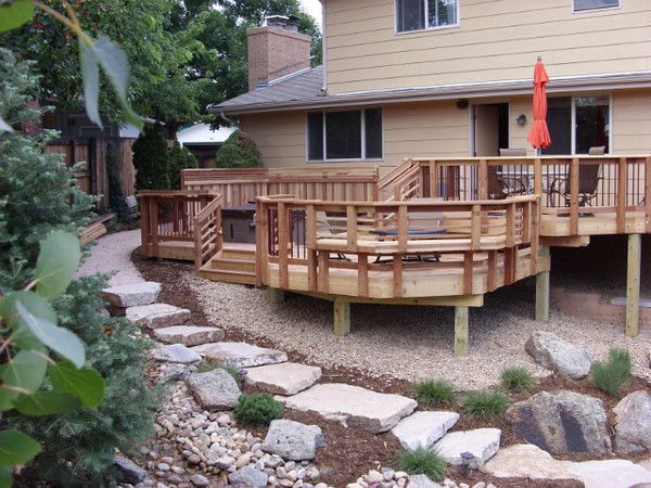 multi level redwood deck with area for dining fire pit and hot tub designed - Multi Level Patio Designs