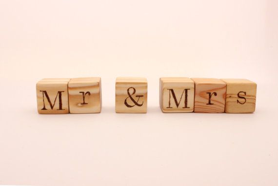 Personalized wooden blocks  18 cubes  Mr  Mrs  by WoofWoofWood