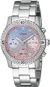 GUESS Women's U0774L1 Silver-Tone Watch with Blue and Pink Glitter Multi-Function Dial