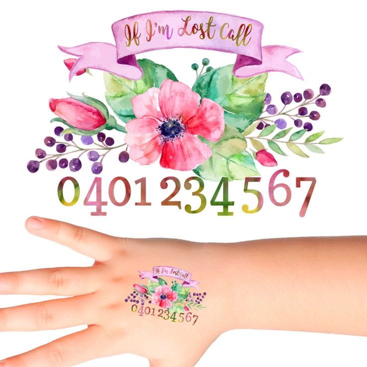 Flowers Personalised Safety Tattoos #517 (32 pack)