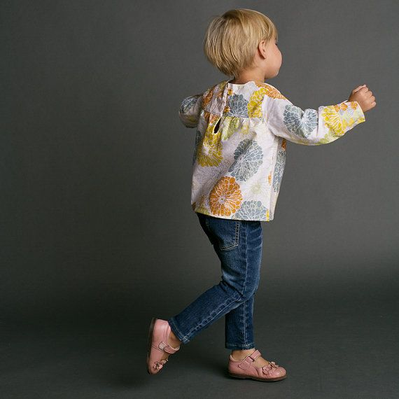 Girls Shirt Pattern with Collar option Long Sleeved by tiedyediva