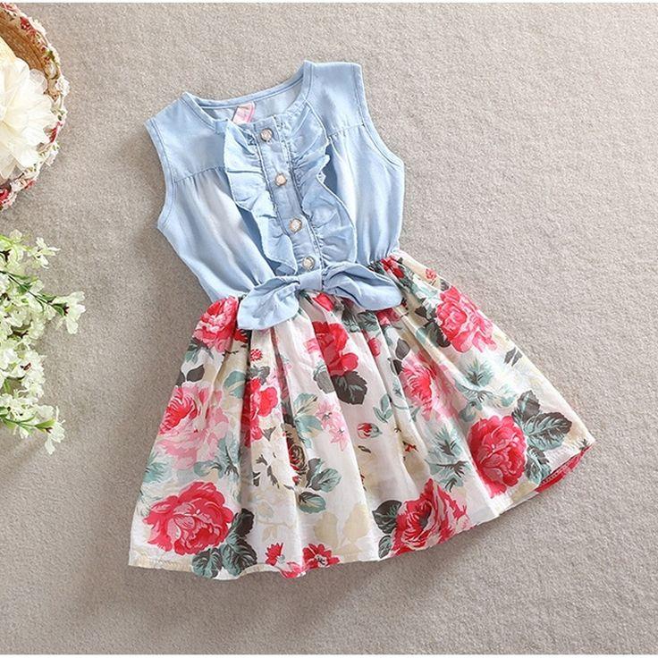 H&Q Summer Girls Sleeveless Jeans Floral Print Dress