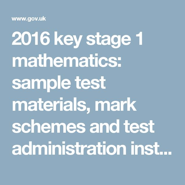 2016 key stage 1 mathematics: sample test materials, mark schemes and test administration instructions - GOV.UK