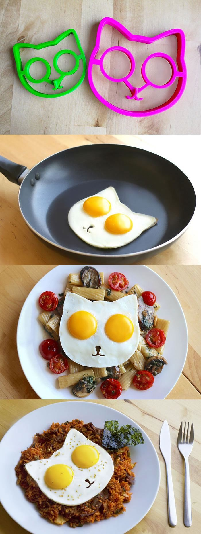 Cat-Shaped Egg Mold Lets You Make Breakfast Kitty-Side Up. http://www.foodandwine.com/fwx/secrets/cat-shaped-egg-mold-brings-out-kickstarter-s-kitty-lovers https://www.kickstarter.com/projects/991279259/sunny-side-up-eggs-cat-egg-molds