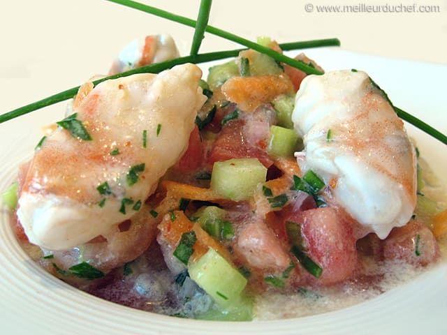 Salade de gambas marinées, et lait de coco