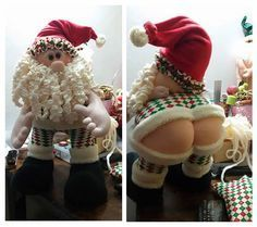 Un gracioso y original Papá Noel enseñando el cullette, aparte de divertir un poco mas el ambiente navideño, también lo puedes hacer para regalar con un toque de humor.