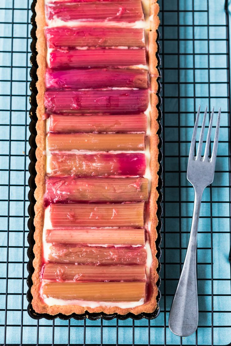 Gorgeous Thermomix Rhubarb tart. Recipe is easy and tastes delicious.