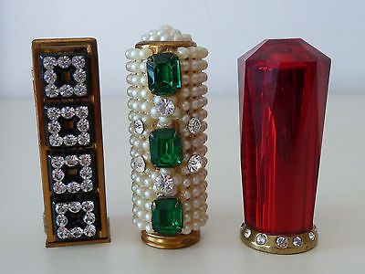 3 VINTAGE LIPSTICK HOLDERS RHINESTONE FAUX PEARLS FAUX EMERALDS ELGIN, , I have the second one of these!!