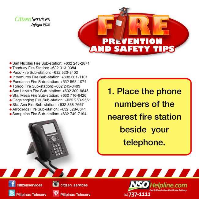 Fire Prevention Safety Tips 1: Place the phone numbers of the nearest fire station beside your telephone. #NSOHelpline #CitizenServices #FireSafetyTips