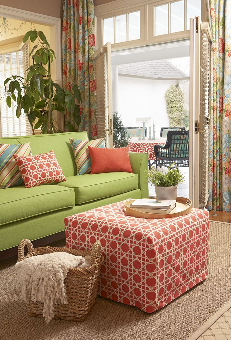 Coral and lime green living room color story featuring Richloom fabrics from fabric.com. Click to shop!