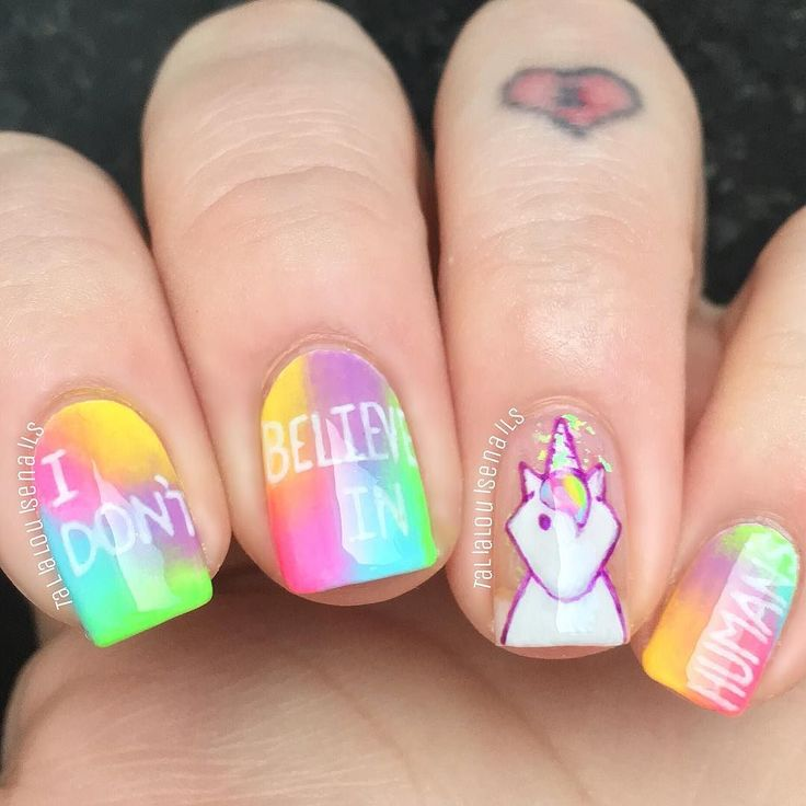 """I don't believe in humans"" anyone who knows me knows my love for unicorns is just life so when I saw @nailartlover07 pop a unicorn design out I had to recreate it with my own spin ... I LOVE THEM! .. I used the beautiful @funlacquer - 'mystical' unicorn skin in a bottle as a base for my sassy lil lady & @sechenails quick dry top coat (my new absolute favourite) cuticle kept beautiful with @myblisskiss #simplypure hydrating oil .... I'm dedicating these to a fellow unicorn lover & my best in…"
