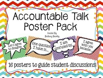 Do your students get off topic during discussions? Mine definitely do. These posters will give students a visual cue of the types of sentence stems they can use when participating in class discussions and group discussions. This is called Accountable Talk.There are 16 phrases included in this pack.