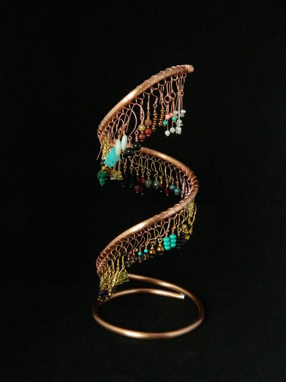 Copper Spiral Earring Display Stand  by GiraffeJewelleryBox