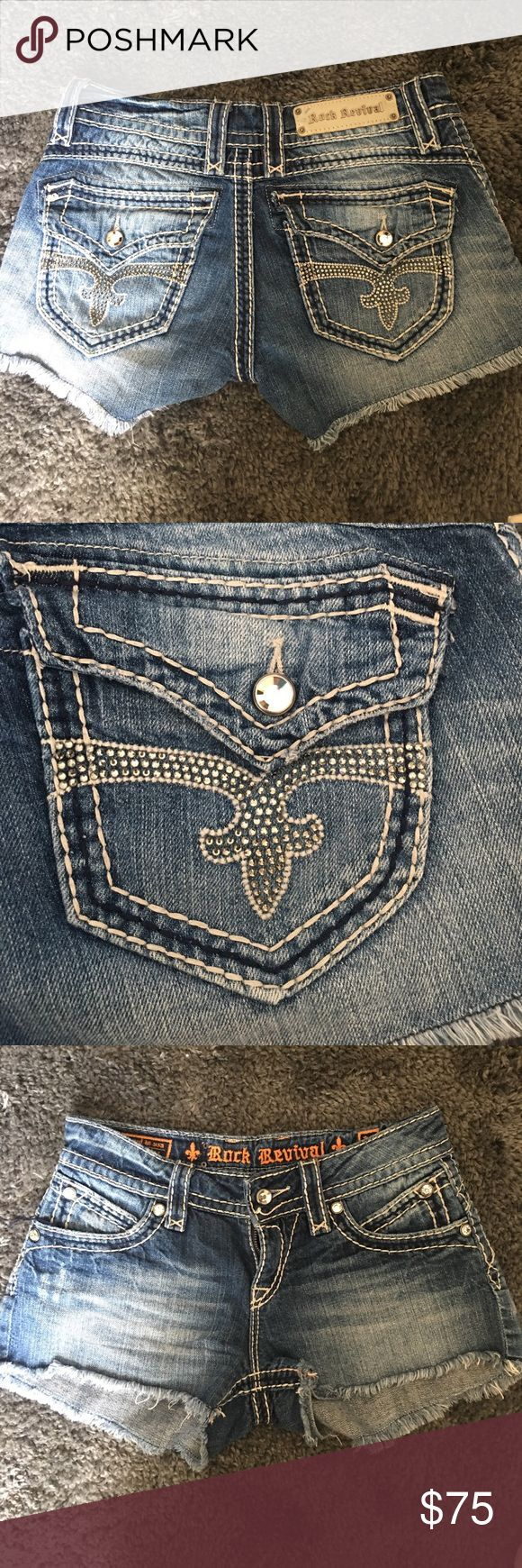 Rock Revival Shorts. Buckle Exclusive Super cute Bling Rock Revival shorts. Perfect for summertime. Mint condition. Style: Scarlett Rock Revival Shorts Jean Shorts