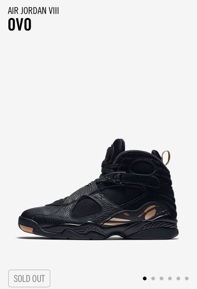 fbae89840bf316 Nike Air Jordan 8 Retro Ovo Uk Size 9.5 US 10.5 black gold In Hand ...