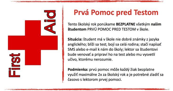 First Aid before your test at school. Are you in trouble? Our lessons are free for all our students. Pripravíme Vás na test z angličtiny zdarma. Ponuka plate iba pre našich študentov. Netrápte sa s tom sami - poznáme triky a vieme, ako na to :-)