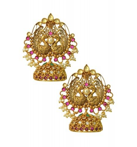 https://www.tribebyamrapali.com/silver-jewellery/Traditional Silver Gold Plated Peacock Jhumka studded withZircon and Crystals.