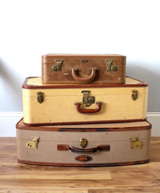 Vintage RARE Mens Suitcase Set. $151.00, via Etsy.