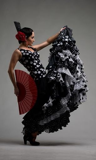 Flamenco dancer from Spain. Beautiful hair flowers.