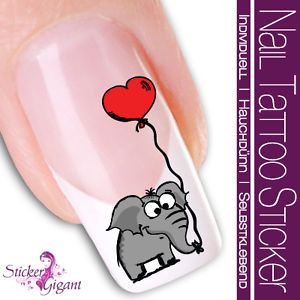 Nailart NAIL TATTOO STICKER - SPAR SET - Comic / Cartoon - Elefant (SGX-210-2)
