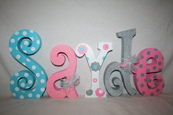 Baby girl wooden letters Pink gray aqua by WoodenWondersShop