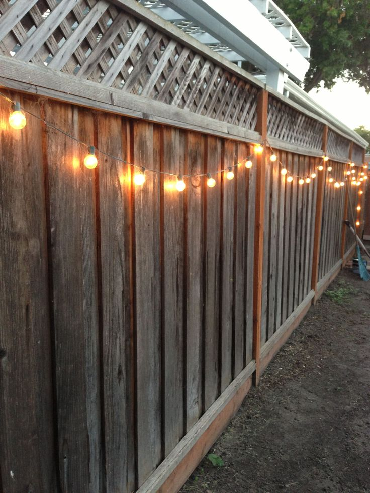DIY backyard lighting. Hang lights on your fence!