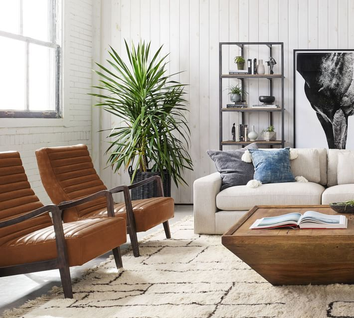 Walker Leather Armchair, Polyester Wrapped Cushions, Statesville Molasses