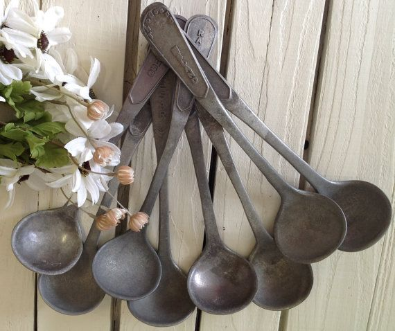 Vintage Set of 8 Salad Dressing Ladels Buffet Serving Utensils Industrial Spoons Metal Dipper Home Living Kitchen by picadillymarket