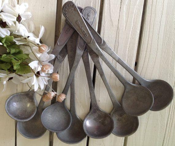 Vintage Set of 8 Salad Dressing Ladels Buffet Serving Utensils Industrial Spoons Metal Dipper Home Living Kitchen by picadillymarket
