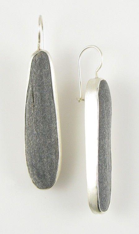 Beach stone and sterling silver earrings, by Jennifer Nielsen