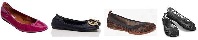 Flats: Lanvin patent ballet flat $495, Tory Burch 'Reva' $225, Yosi Samra ponyhair $70, Crocs 'Adrina' $40